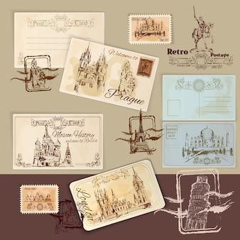 Vintage postkarten-vorlage