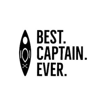 Vintage-print-design im nautischen stil für t-shirts, logos oder abzeichen. beste kapitänstypografie aller zeiten mit möwe und anker. kajak-emblem, t-shirt im meer- und ozeanstil. vektorillustration auf lager isoliert.