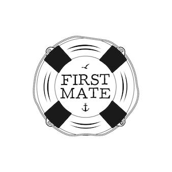 Vintage-print-design im nautischen stil für t-shirts, logos oder abzeichen. erster kamerad-typografie mit möwe und anker. marine-emblem, t-shirt im meer- und ozeanstil. lagervektor isoliert.