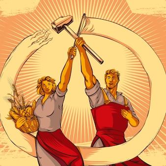 Vintage propaganda stil paar vektor-illustration