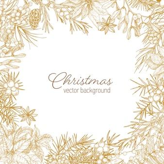 Vintage rahmen aus nadelzweigen und zapfen, weihnachtssternblätter,