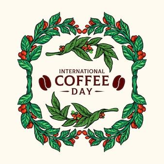 Vintage rahmen kaffeepflanzen illustrationen