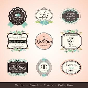 Vintage-rahmen und design-elemente für hochzeit, einladung geburtstag glückwunschkarten