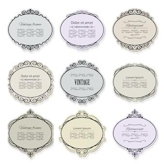 Vintage-rahmen und etiketten gesetzt. kalligraphische gestaltungselemente.