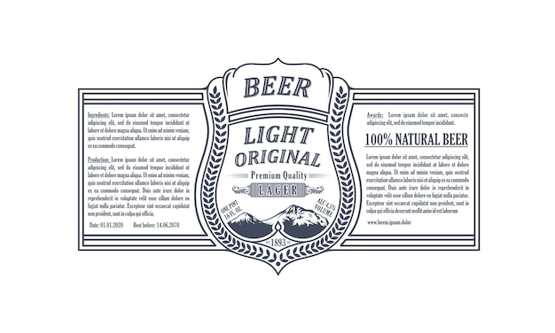 Vintage rahmenverpackungsetikett oder aufkleber bierflasche