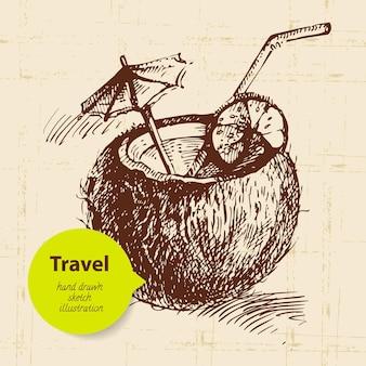 Vintage reisehintergrund mit kokoscocktail. handgezeichnete abbildung