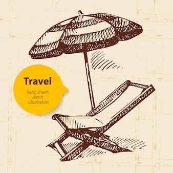 Vintage reisehintergrund mit strandsessel und regenschirm. handgezeichnete abbildung