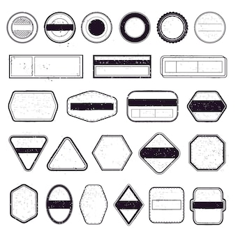 Vintage reisestempel. poststempelvorlagen, reiseversandetikett und rahmen für air boarder-briefmarken. briefmarkenrahmen-symbolsatz