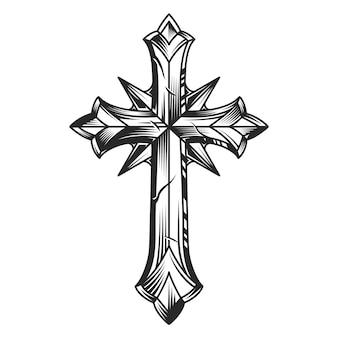Vintage religiöse ursprüngliche kreuzschablone