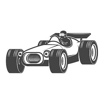 Vintage rennwagen auf weißem hintergrund. illustration