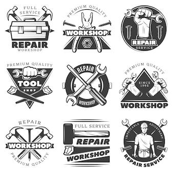 Vintage reparaturwerkstatt etikettensatz