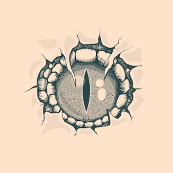 Vintage reptyle eye zeichnung. tattoo-stil.