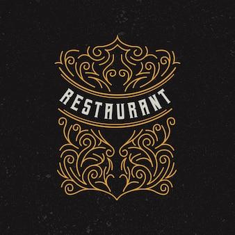 Vintage restaurant logo design vorlage
