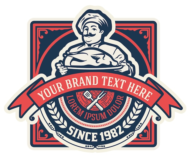 Vintage restaurant logo mit chef illustration