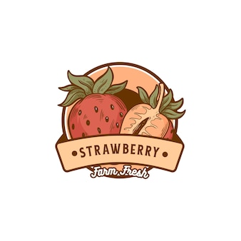 Vintage retro-abzeichen erdbeere für produktgeschäft