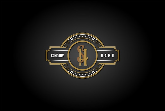 Vintage retro anfangsbuchstabe sh hs logo design vector