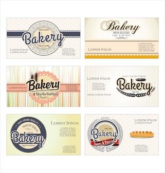 Vintage retro bäckerei etiketten und altes papier