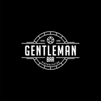 Vintage retro bar club gentleman logo design