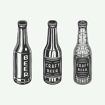 Vintage retro-bierflaschen oder getränkeflaschen