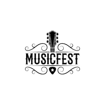 Vintage retro country western musik logo design vektor