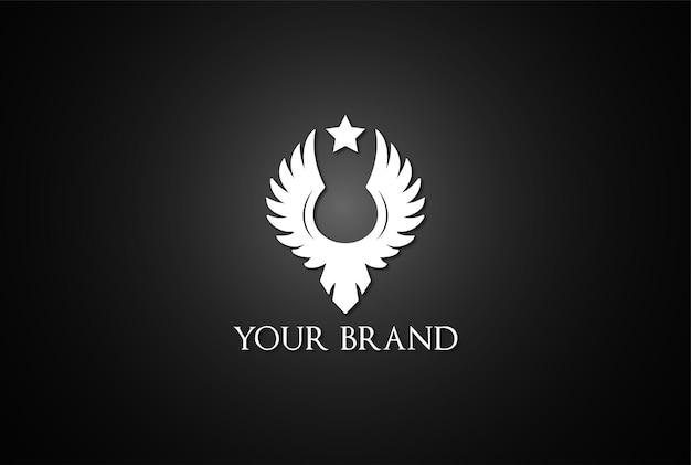 Vintage retro einfacher adler falke falke phoenix flügel vogel abzeichen emblem logo design vektor