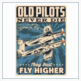 Vintage retro flugzeug poster