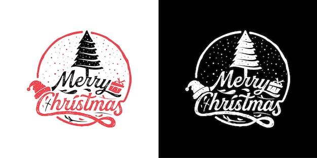 Vintage retro frohe weihnachten abzeichen logo stempel design vorlage inspiration