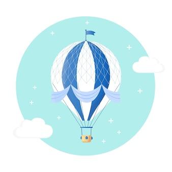 Vintage retro heißluftballon mit korb im himmel