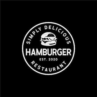 Vintage retro-hipster des burger-logo-stempels