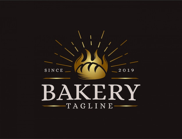 Vintage retro hipster label emblem bäckerei logo