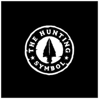 Vintage retro hipster rustikaler speer pfeilspitze stempel für jagdabzeichen logo design