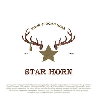 Vintage retro-hirschhorn-logo horn mit sternvektor-prämie