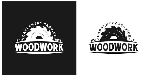 Vintage retro holzarbeiten handwerker zimmerei logo premium-vektoren