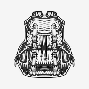 Vintage retro-holzschnitt-camping-outdoor-rucksack-tasche kann wie emblem-logo-abzeichen-etikett verwendet werden