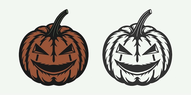 Vintage retro-holzschnitt halloween gruselig kürbis kann wie emblem logo abzeichen label verwendet werden