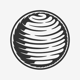 Vintage retro-holzschnitt-weltraum-galaxie-planet kann wie emblem-logo verwendet werden