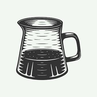 Vintage retro-kaffee amerikanischer wasserkocher kann für logo-emblem-abzeichen-plakat verwendet werden