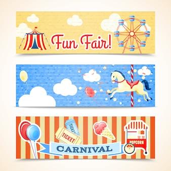 Vintage retro karneval spaß messe vertikale banner isoliert vektor-illustration