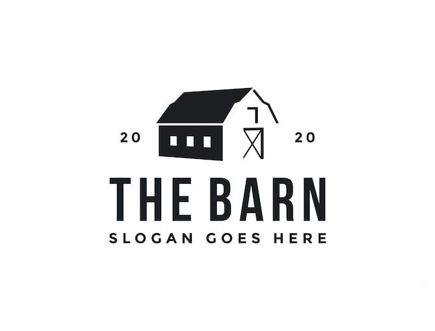 Vintage retro klassische minimalistische alte scheune farm logo icon vorlage