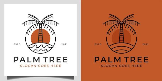 Vintage retro-logo der naturpalme in strand oder meer mit welle für sommerstimmungs-ferienlogoschablone