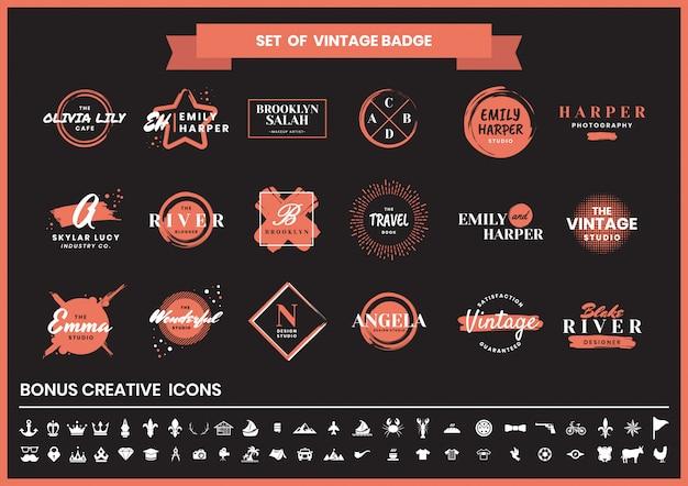 Vintage retro-logo und icon-set