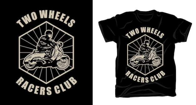 Vintage retro motorradfahrer mit typografie t-shirt design