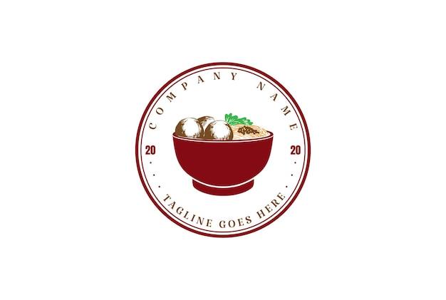 Vintage retro-nudel mit roter schüssel für asiatisches japanisches koreanisches orientalisches lebensmittel-restaurant-logo-design-vektor