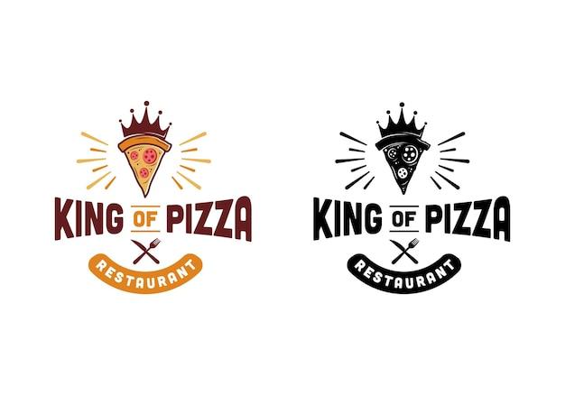 Vintage retro-pizzeria, könig der pizza-restaurant-logo-design-vorlage inspiration