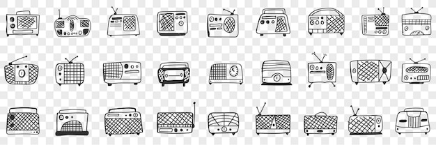Vintage retro radio kassettenrekorder gekritzel set illustration