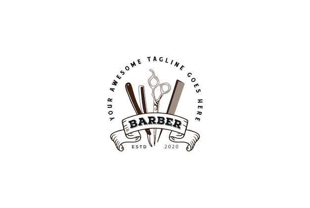 Vintage retro rasierer schere und kamm für barbershop hair cut style abzeichen emblem label logo design vector