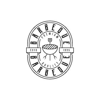 Vintage retro rustikaler bbq grill, barbecue, barbeque label stamp logo design vector