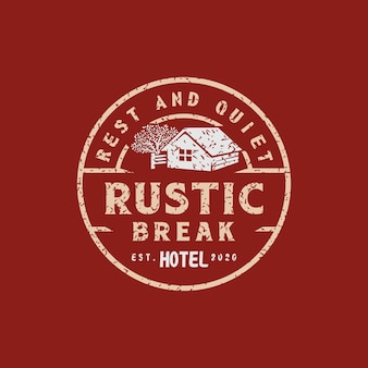 Vintage retro-rustikales hotellogo oder für einen zuverlässigen hotelstempel