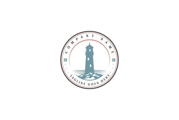 Vintage retro searchlight lighthouse beacon tower island beach logo design vector