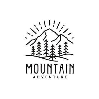 Vintage retro sonnenaufgang bergwald natur hipster kiefer immergrüner baum outdoor-abenteuer-logo